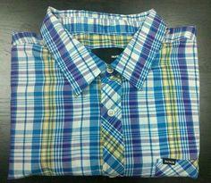 7ae94ce90dc Men s HURLEY Plaid Pattern Short Sleeve Button Down Dress Shirt Size 2XL   Hurley  DressShirt