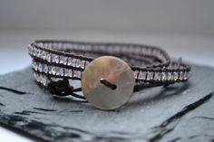 Leather Beaded Wrap Bracelet  Light Pink by RealMoxie on Etsy, $24.00