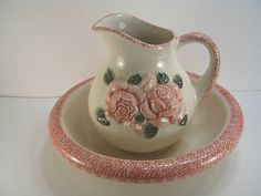 Vintage Ceramic Pitcher Wash Basin Bowl Pink Roses | eBay
