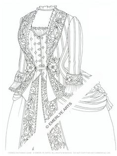Printable Coloring Page Victorian Garb Emerlyearts