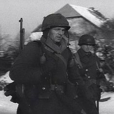 Infantrymen of the 358th Infantry Regiment in Bavigne, Luxembourg, on January 11, 1945. #ww2weapons #ww2history #1944 #battleofthebulge #ww2 #warpics #warhistory #worldwar2 #worldwar #worldwarii #worldwartwo #1944 #usarmy #wwii #wwiimemorial #bandofbrothers #currahee #tanks #ww2tanks #history #war #veterans #bastogne