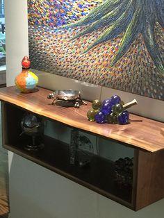 Custom Live Edge Walnut Floating Bookcase Table by MadeByGideon