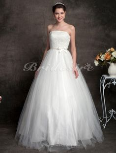 Ball Gown Tulle Floor-length Strapless Wedding Dress - $209.99