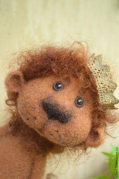 Купить Лёва - рыжий, лев, царь, игрушка ручной работы, подарок, войлочная игрушка