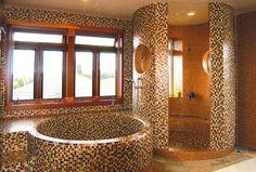 Oceanside Glass Tile Bathroom with Shower
