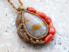 coral jaspaer pendant