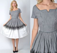 Vintage 50s Black + White Color Block Dress Gingham cutout cocktail Pleated Full #Unbranded #Sheath #Cocktail