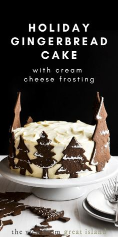 This holiday gingerbread cake is loaded with cream cheese frosting and surrounded by a forest of gingerbread cookie trees. It's an edible winter wonderland! Dessert Cake Recipes, Frosting Recipes, Cupcake Recipes, Cupcake Cakes, Dessert Ideas, Cake Ideas, Cupcakes, Fall Desserts, Christmas Desserts