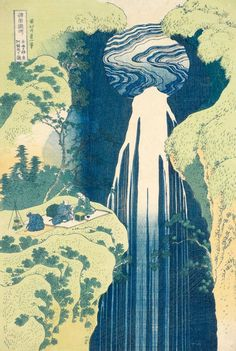 Katsushika Hokusai, Amida Waterfall at the end of the Kiso Road, from the series A Tour of Japanese Waterfalls (about 1832-1833). Woodblock color print, 38,7 x 25,9 cm - Honolulu Museum of Art.
