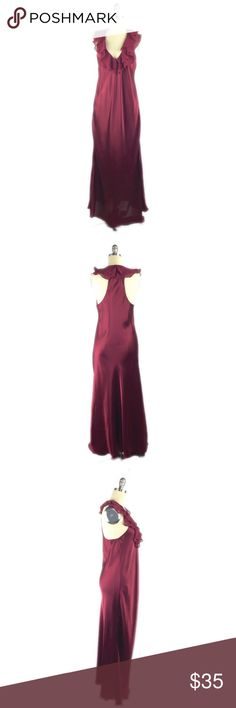"""Oscar De La Renta Pink Label Maxi Length Nightie S Oscar de la Renta Pink Label sleeveless racerback night gown with ruffled v neckline. Unlined. 100% polyester; machine wash. Color is a deep mahogany. 19"""" armpit to armpit, 53"""" length. A09060 Oscar de la Renta Intimates & Sleepwear Chemises & Slips"""