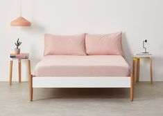 Alexia, drap-housse 100 % coton délavé, rose pâle | MADE.com