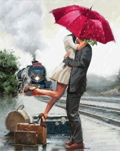 Find images and videos about gif and fantasy on We Heart It - the app to get lost in what you love. Umbrella Art, Under My Umbrella, Romance Arte, Photos Amoureux, Art Romantique, Art Amour, Animation, Love Art, Art Drawings