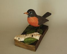 Robin Bird Woodcarving Wood Sculpture by TurtleMtnArtistry on Etsy