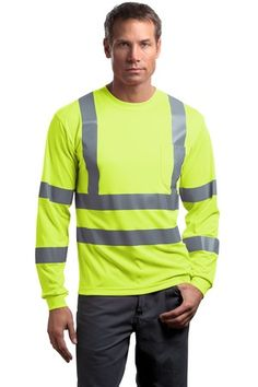 CornerStone - ANSI 107 Class 3 Long Sleeve Snag-Resistant Reflective T-Shirt Style - Casual Clothing for Men, Women, Youth, and Children Pullover Sweaters, Sweatshirt, T Shirt, Custom T, Custom Design, Green Shirt, Shirt Outfit, Shirt Style, Work Wear