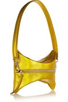 Maison MargielaConvertible metallic python shoulder bagfront