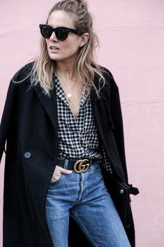 Gingham & Gucci (Fashion Me Now) Minimal Wardrobe, Minimal Outfit, Minimal Fashion, Minimal Chic, Urban Fashion, Fashion Me Now, Fashion Outfits, Fashion Trends, Fashion Belts