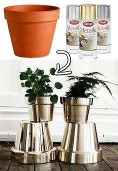 Metallic silver pots....love them!