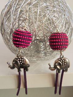 """Boucles d'oreille """"Eléphant Rose"""" : Boucles d'oreille par mademoiselle-topaze-bijoux"""