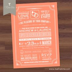 Bridal Shower Invitation - Couples Shower - Modern Poster Typography - Peach, Coral, Chalkboard - BBQ , Baby, wedding, birthday (Printable)