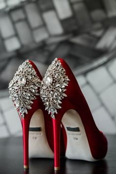 Red Wedding Shoes: Glamorous Black, White, & Gold Wedding with a Pittsburgh Theme at the Heinz History Center from Sky's the Limit Photography featured on Burgh Brides #weddingshoes