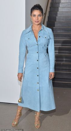 Dressed to impress: Priyanka paired her baby blue suede frock with lace-up heels and a tin. Best Celebrity Dresses, Celebrity Casual Outfits, Celebrity Style, Hollywood Street, Priyanka Chopra Hot, African Attire, Business Attire, Fashion Looks, Fashion Beauty