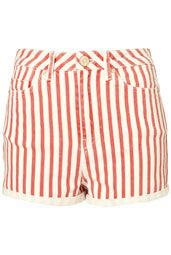 love the red white vintage wash striped denim cutoffs!