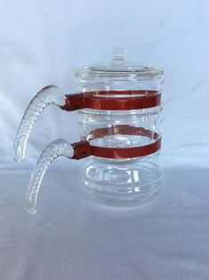 Rare Glasbake double saucepan with goose neck handle Pyrex Double Boiler, Vintage Kitchenware, Metal Bands, Pyrex, Handle, Nice, Glass, Etsy, Federal