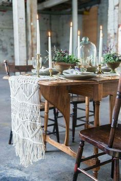 summer gathering, complete with a stunning macrame table runner!