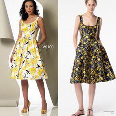 The summer sundress. #sewthelook with #voguepattern #v9100.  Inspo dress by Carolina Herrera
