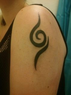 """My new ANBU tattoo! by Anita (~KashiRuka, Denmark): """"Yes, I finally got my tattoo. It was made the 24th of July, so it's approximately 1½ months old as of now, and I'm loving it more and more everyday. :) 'Tis also the reason I'll remake my Anbu cosplay, all from scratch, to J-popcon '14, which is in March."""""""