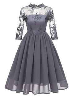 Women Vintage Long 3/4 Sleeve Hollow Laced Bridesmaid Dress with Collar - Grey  Yes, its grey version of the same dress published before~ Share if you like it~  #partydress #vintagedress #classicdress #bridesmaiddress #partydress #eveningdress #cocktaildress #birthdaydress #hapqeelin #hapqeelinpartydress #hapqeelinbridesmaiddress
