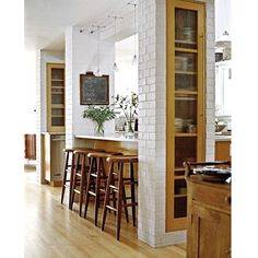 3 Creative and Modern Tips Can Change Your Life: Small Kitchen Remodel L-shaped mid century kitchen remodel rugs.Old Kitchen Remodel Small open kitchen remodel half walls. Open Kitchen, Kitchen Dining, Kitchen Decor, Kitchen Layout, Kitchen Pass, Island Kitchen, Kitchen Storage, Diy Kitchen, Kitchen Nook
