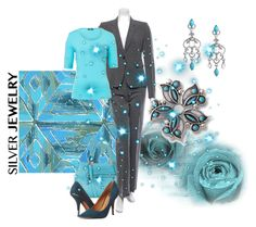 A touch of turquoise by maria-kuroshchepova on Polyvore featuring Basler, Joseph, Dolce Vita and silverjewelry