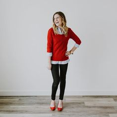 cute teacher outfit, kindergarten teacher outfit, elementary school teacher outfit, teacher fashion, teacher style, red sweater, gingham outfit, fall outfit, winter outfit