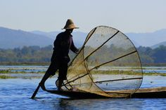 A local fisherman at Inle Lake in Myanmar.