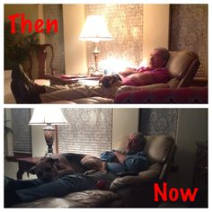 my dad and dog they have done this every night since we got her when she was 10 weeks old http://imgur.com/PHzhXi5