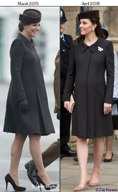Kate chose a coat by Catherine Walker for today's Easter Sunday church services. Below you see the couple being greeted by the Dean of Windsor, the Right Reverend David Conner. The Duke, Duchess, Prince George and Princess Charlotte are staying at the Middletons Berkshire home this weekend. They joined other royals at St. George's Chapel, Windsor, for the service. Below …