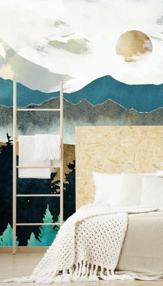 We ADORE a mountain or forest wallpaper in a bedroom - the connection with nature makes you feel relaxed as soon as you walk into the room! So why not enjoy an abstract designer landscape wallpaper like this Forest Mist wall mural designed by the amazing SpaceFrog Designs? #mistymountainwallpaper #bedroomwallpaper #navybluewallpaper #navywallpaper Bedroom Wallpaper Murals, Navy Wallpaper, Wall Murals, Mountain Wallpaper, Forest Wallpaper, Accent Wall Bedroom, Bedroom Decor, Stunning Wallpapers, Landscape Wallpaper