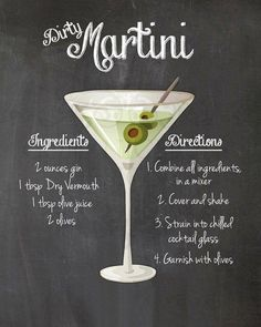 Dirty Martini Cocktail Recipe Chalkboard Printable Kitchen Art Wall Decor Digital JPEG File – Cocktails and Pretty Drinks Triple Sec, Pina Colada, Cocktail Drinks, Cocktail Recipes, Dinner Recipes, Party Drinks, Lemonade Cocktail, Beste Cocktails, Drink Recipes
