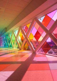 Pick Your Best Exterior Color Architecture Design: Lighter Miami Airport Installation Architecture In Pink Light Broken Glass Art, Sea Glass Art, Stained Glass Art, Fused Glass, Miami Airport, Glass Art Design, Colour Architecture, Environmental Graphic Design, Interactive Art