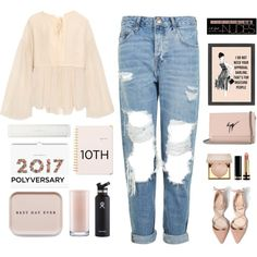 Celebrate Our 10th Polyversary! by dunoni on Polyvore featuring Chloé, Topshop, Giuseppe Zanotti, Charlotte Russe, Stila, Gucci, Rifle Paper Co, Sugar Paper, Kate Spade and Hydro Flask