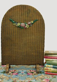 Vintage Home - 1930s Barbola Swag Lloyd Loom Fire Screen.