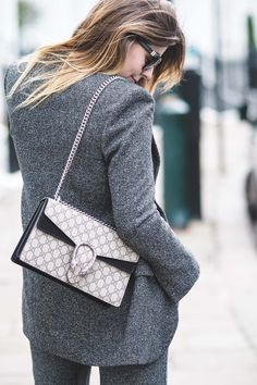 Gucci Dionysus bag, grey suit