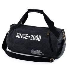 Camping & Hiking Canvas Black Duffle Shoulder Bag Foldable Waterproof Sport Train Gym Football Skillful Manufacture Sporting Goods