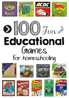 100 Educational Games for Homeschooling (This post contains affiliate links.) Games for Homeschooling? During my workshops about creative homeschooling and living math, I often talk about incorporating games into the school schedule. If … - Home School bl Educational Board Games, Educational Activities, Educational Games For Toddlers, Educational Leadership, Educational Websites, Board Games For Kids, Logic Games For Kids, Math Board Games, 100 Games
