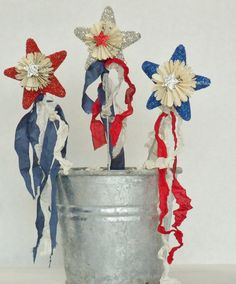 Memorial Day / 4th of July Patriotic Star wands in bucket