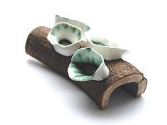 Terhi Tolvanen - Brooch. Silver, porcelain, wood, paint