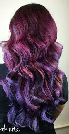 Burgundy purple ombre dyed hair @ms_robinita