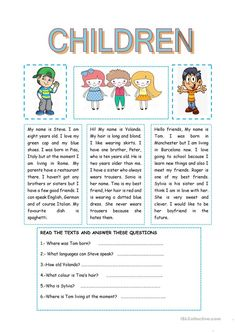 CHILDREN worksheet - Free ESL printable worksheets made by teachers Kids English, English Reading, English Lessons, Learn English, Comprehension Exercises, Reading Comprehension Activities, Free Teaching Resources, Teaching Jobs, English Language Learning