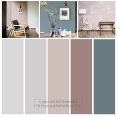 Love this combination of new Farrow and Ball colours - De Nimes and Sulking room pink. Have also featured their larger than life Helleborus wallpaper to add pattern. Hallway Colour Schemes, Lounge Colour Schemes, Dining Room Colour Schemes, Hallway Colours, Dining Room Colors, House Color Schemes, Bedroom Color Schemes, Bedroom Colors, House Colors